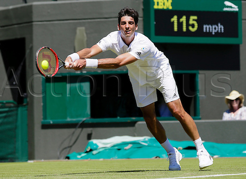 30.06.2015.  Wimbledon, England. The Wimbledon Tennis Championships.  Gentlemen's Singles first round match between tenth seed Rafael Nadal (ESP) & Thomas Bellucci (BRA).  Thomas Bellucci in action
