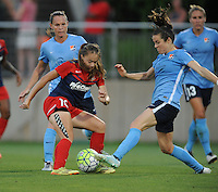 Boyds, MD - Saturday June 25, 2016: Estefania Banini, Christie Rampone, Kelley O'Hara during a United States National Women's Soccer League (NWSL) match between the Washington Spirit and Sky Blue FC at Maureen Hendricks Field, Maryland SoccerPlex.