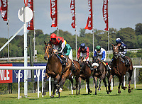 03.08.2013 Goodwood, England. Winner (2) Pether's Moon (IRL) ridden by Richard Hughes trained by Richard Hannon over the finish line during day five of the  Glorious Goodwood Festival. 2.40 The RAC Stakes (Handicap) 1M 4F