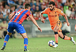 Liverpool FC forward Mohamed Salah (L) fights for the ball with Crystal Palace defender Scott Dann (R) during the Premier League Asia Trophy match between Liverpool FC and Crystal Palace FC at Hong Kong Stadium on 19 July 2017, in Hong Kong, China. Photo by Weixiang Lim / Power Sport Images