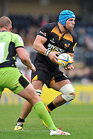 High Wycombe, England. James Haskell (Captain) of Wasps in action during the Aviva Premiership match between Wasps and Northampton Saints at Adams Park on September 14, 2014 in High Wycombe, England.