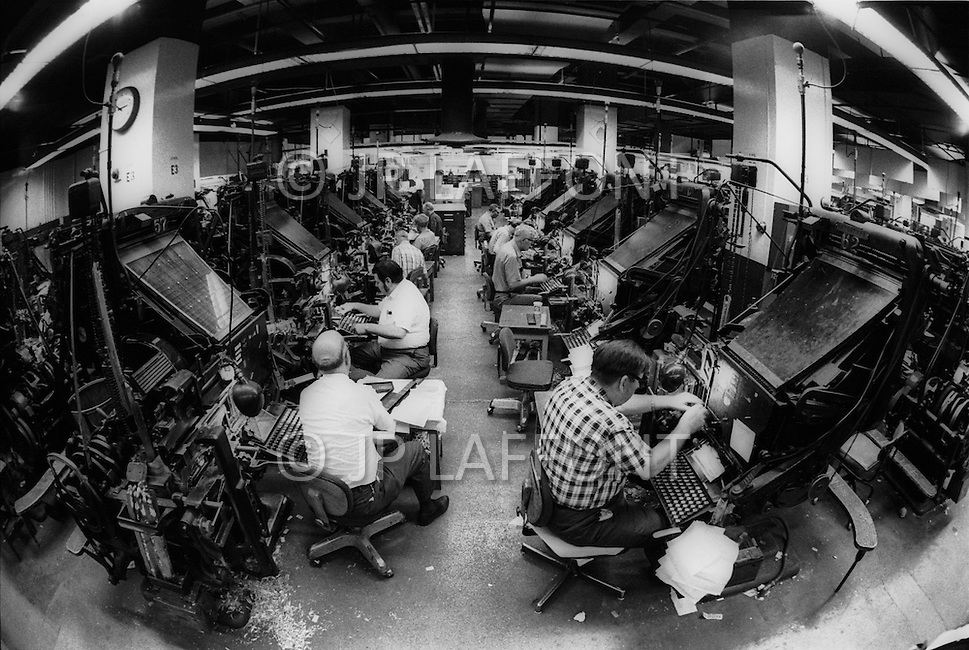New York City, NY, June 20th, 1971. Inside of The New York Time building. The Compose Room and linotypists.
