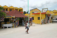 Hotel Mahahual in Costa Maya, Mexico is brightly colored.