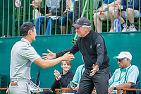Haotong Li (CHN) and Gary Player on the first tee during the first round at the Nedbank Golf Challenge hosted by Gary Player,  Gary Player country Club, Sun City, Rustenburg, South Africa. 08/11/2018 <br /> Picture: Golffile | Tyrone Winfield<br /> <br /> <br /> All photo usage must carry mandatory copyright credit (&copy; Golffile | Tyrone Winfield)