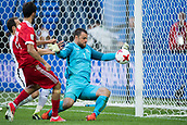 17th June 2017, St Petersburg, Russia; FIFA 2017 Confederations Cup football, Russia versus New Zealand; Group A - Saint Petersburg Stadium,  New Zealand goalkeeper Stefan Marinovic (r) blocks a shot by Russia's Aleksandr Erokhin during the Confederations Cup Group A soccer match between Russia and New Zealand at the stadium in Saint Petersburg, Russia, 17 June 2017.