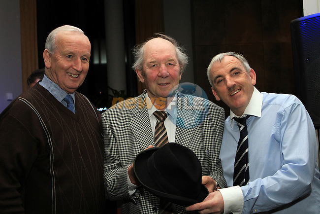 "Paddy Townley and Jimmy Weldon present Paddy Cluskey with a hat at the Launch of Jimmy's new book, ""Jimmy's People 2"" in the D Hotel...(Photo credit should read Jenny Matthews www.newsfile.ie)....This Picture has been sent you under the conditions enclosed by:.Newsfile Ltd..The Studio,.Millmount Abbey,.Drogheda,.Co Meath..Ireland..Tel: +353(0)41-9871240.Fax: +353(0)41-9871260.GSM: +353(0)86-2500958.email: pictures@newsfile.ie.www.newsfile.ie."