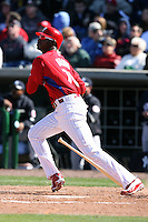March 4, 2010:  Outfielder Domonic Brown of the Philadelphia Phillies during a Spring Training game at Bright House Field in Clearwater, FL.  Photo By Mike Janes/Four Seam Images