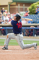 Wade Moore #18 of the Hagerstown Suns follows through on his swing against the Rome Braves at State Mutual Stadium on May 2, 2011 in Rome, Georgia.   Photo by Brian Westerholt / Four Seam Images