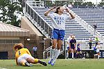 14 September 2014: Duke's Christina Gibbons (31) reacts after missing a shot after beating LSU's Lily Alfeld (NZL) (1). The Duke University Blue Devils hosted the Louisiana State University Tigers at Koskinen Stadium in Durham, North Carolina in a 2014 NCAA Division I Women's Soccer match. Duke won the game 1-0.