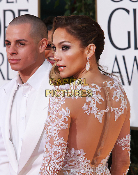 Casper Smart & Jennifer Lopez.70th Annual Golden Globe Awards held at the Beverly Hilton Hotel, Hollywood, California, USA..January 13th, 2013.globes half length white suit jacket lace sheer dress back behind rear profile looking over shoulder couple .CAP/ADM/SLP/COL.©Collin/Starlitepics/AdMedia/Capital Pictures.