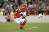 Nottingham Forest's Adl&egrave;ne Gu&eacute;dioura tries a shot from the half way line<br /> <br /> Photographer Mick Walker/CameraSport<br /> <br /> The EFL Sky Bet Championship - Nottingham Forest v West Bromwich Albion - Tuesday August 7th 2018 - The City Ground - Nottingham<br /> <br /> World Copyright &copy; 2018 CameraSport. All rights reserved. 43 Linden Ave. Countesthorpe. Leicester. England. LE8 5PG - Tel: +44 (0) 116 277 4147 - admin@camerasport.com - www.camerasport.com