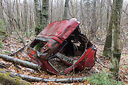 Abandoned truck in the Clay Brook drainage of Easton, New Hampshire USA during the spring months.
