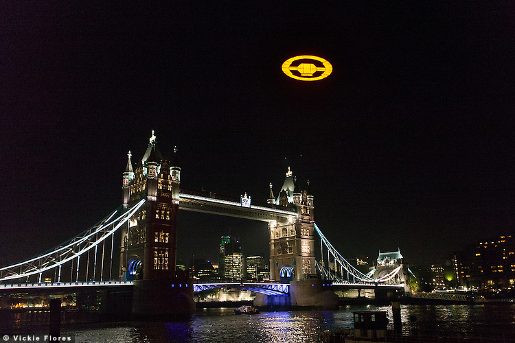 "A giant illuminated ""Halo 4"" Glyph symbol hovers over Tower Bridge in London on 5 November 2012. xBox 360 took over London's skies to launch the blockbuster ""Halo 4"". The ""Halo 4"" structure was suspended from a helicopter flying over the River Thames and measures 50 feet in diameter and weighs over three tons."