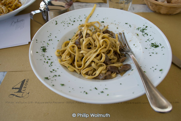 Restaurant taglierini pasta dish with mushrooms, Florence, Italy