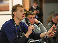 Arena Loire,  Trélazé,  France, 14 April, 2016, Semifinal FedCup, France-Netherlands, Draw,  Dutch reporter for Tennis.nl asking questions<br /> Photo: Henk Koster/Tennisimages