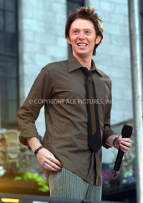 "Clay Aiken performs on ""Good Morning America"" in New York. July 2, 2004. Please byline: CHLOE RED/ACE Pictures.   .. *** ***  ..All Celebrity Entertainment, Inc:  ..contact: Alecsey Boldeskul (646) 267-6913 ..Philip Vaughan (646) 769-0430..e-mail: info@nyphotopress.com"