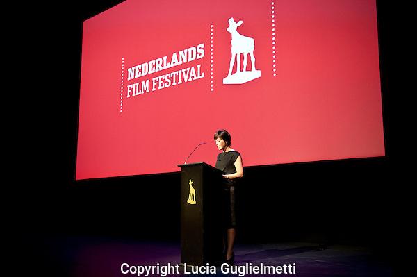 Utrecht,21 sept 2011 .Nederlands FILM FESTIVAL.openingsspeech.Willemien Van Aalst..Foto Lucia Guglielmetti.