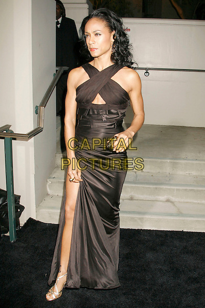 JADA PINKETT SMITH.Gianni And Donatella Versace Receive Rodeo Drive Walk Of Style Award held at the Beverly Hills City Hall, Beverly Hills, California, USA. .February 8th, 2007.full length black satin dress criss cross slit split hand on hip.CAP/ADM/RE.©Russ Elliot/AdMedia/Capital Pictures