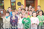 SPLASHING TIME: Swimmers from Gaelscoil Aogain in Castleisland who won the Kerry Primary Schools Swimming Gala in Tralee on Friday last..Front L/r. Tadgh Walsh, Darren O'Riada, Mairead Nic Gearailt, Diarmuid Mac Carthaigh, Grace Ni Carthaigh..Second row L/r. Eoin Mac Carthaigh, Larry Prendeville, Kelley De Burca, Ciaran O'Braoin, Andrea Ni Mhurchu..Third row L/r. Orla Ni Chonchuir, Aoife Ni Laoire, Eamonn Breathnach, Donal Mac Carthaigh,..Back L/r. Aoife Ni Bhraoin, Aine Ni Chonchuir.   Copyright Kerry's Eye 2008