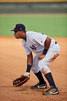 GCL Yankees East first baseman Nelson Alvarez (59) during the first game of a doubleheader against the GCL Blue Jays on July 24, 2017 at the Yankees Minor League Complex in Tampa, Florida.  GCL Blue Jays defeated the GCL Yankees East 6-3 in a game that originally started on July 8th.  (Mike Janes/Four Seam Images)