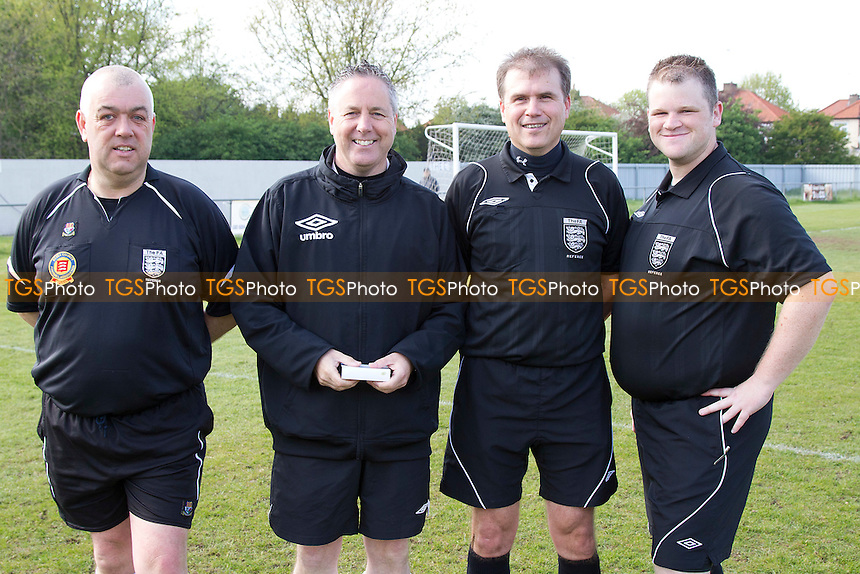 The officials, Nigel Bond, Kevin Curran, Stuart Brown, Tom Brooks - Burnham Ramblers vs Witham Town - Essex Senior League Cup Final at Enfield 1893 FC, Goldsdown Road, Brimsdown - 07/05/12 - MANDATORY CREDIT: Ray Lawrence/TGSPHOTO - Self billing applies where appropriate - 0845 094 6026 - contact@tgsphoto.co.uk - NO UNPAID USE.
