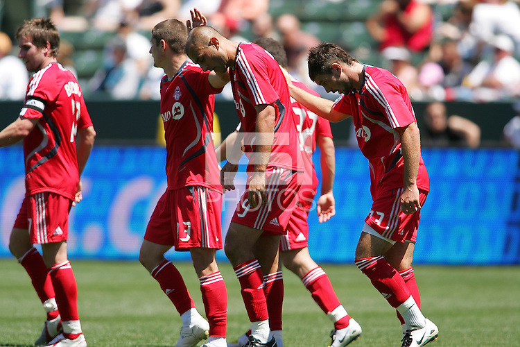 Toronto fc forward (9) Danny Dichio celebrates a goal in the first half with his teammates during a MLS game. Toronto fc defeated the LA Galaxy 3-2 at the Home Depot Center Carson, California, Sunday April 13, 2008.
