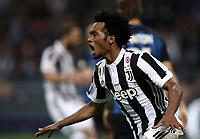 Calcio, Serie A: Inter - Juventus, Milano, stadio Giuseppe Meazza (San Siro), 28 aprile 2018.<br /> Juventus' Juan Cuadrado celebrates scoring their second goal during the Italian Serie A football match between Inter Milan and Juventus at Giuseppe Meazza (San Siro) stadium, April 28, 2018.<br /> UPDATE IMAGES PRESS/Isabella Bonotto