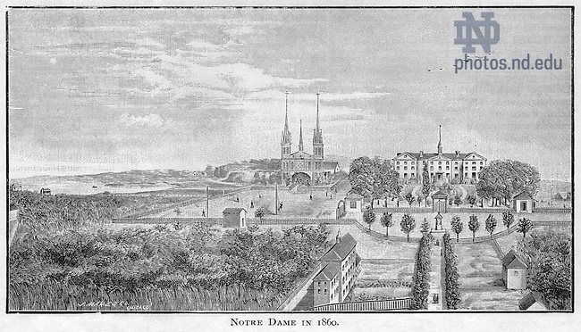 Scholastic Magazine 1886/0814, page 2:  Engraving of the first Sacred Heart Church and first Main Building, 1860..Image from the University of Notre Dame Archives.