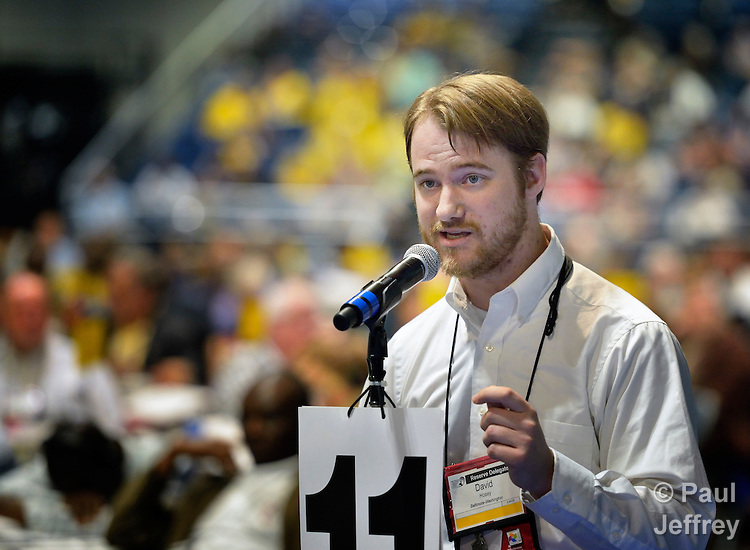 David Hosey, a delegate from the Baltimore-Washington annual conference, speaks during a May 2 session of the 2012 United Methodist General Conference in Tampa, Florida, in favor of divestment from corporations profiting from the illegal Israeli settlement of occupied Palestinian territories. Hosey served as a United Methodist mission intern in the Holy Land. The move was defeated.