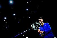 3rd November 2019, AccorHotels Arena, Bercy, Paris, France; Rolex Paris masters Tennis tournament, finals day;  joie de Novak Djokovic (Srb) winner of the mens singles final with his trophy