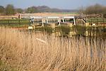 Flood defence barrier on River Alde at Snape, Suffolk, England