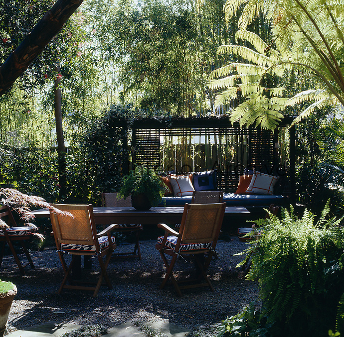 The garden has plenty of shaded seating areas  and is used as an outdoor living room
