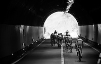 first escape group trying to ride off (the peloton) in the tunnel<br /> <br /> stage 16: Bressanone/Brixen - Andalo 132km<br /> 99th Giro d'Italia 2016