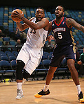 Reno Bighorns' K.C. Rivers and Bakersfield Jam's Damion James compete in a D-League basketball game in Reno, Nev., on Tuesday, Jan. 14, 2014. The Bighorns won 93-85.<br /> Photo by Cathleen Allison