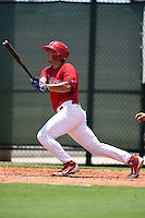 GCL Phillies third baseman Damek Tomscha (26) at bat during a game against the GCL Pirates on June 26, 2014 at the Carpenter Complex in Clearwater, Florida.  GCL Phillies defeated the GCL Pirates 6-2.  (Mike Janes/Four Seam Images)