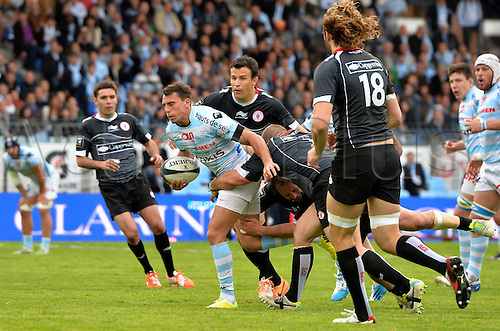 12.04.2014. Paris, France. Top 14 Rugby Union. Racing Metro versus Biarritz.  Juan Imhoff (rm) - Damien Traille (bia)