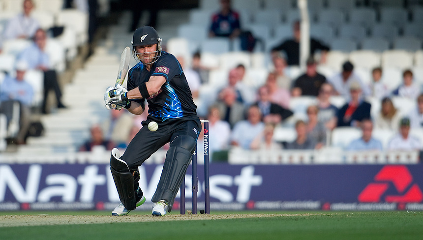 New Zealand's Brendon McCullum pulls to mid wicket in today's game at the Kia Oval against England<br /> <br />  (Photo by Ashley Western/CameraSport) <br /> <br /> International Cricket - NatWest International T20 Series - England v New  Zealand - Tuesday 25th June 2013 - The Kia Oval, London <br /> <br />  &copy; CameraSport - 43 Linden Ave. Countesthorpe. Leicester. England. LE8 5PG - Tel: +44 (0) 116 277 4147 - admin@camerasport.com - www.camerasport.com