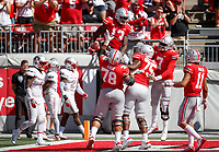 Teammate celebrate with Ohio State Buckeyes tight end Rashod Berry (13) after he scored a touchdown during the third quarter of a NCAA college football game between the Ohio State Buckeyes and the UNLV Rebels on Saturday, September 23, 2017 at Ohio Stadium in Columbus, Ohio. [Joshua A. Bickel/Dispatch]