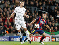 FC Barcelona's Javier Mascherano (r) and Paris Saint-Germain's Zlatan Ibrahimovic during Champions League 2014/2015 match.December 10,2014. (ALTERPHOTOS/Acero) /NortePhoto