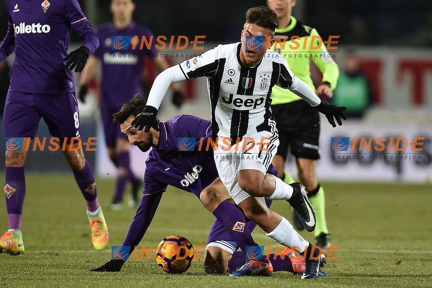 Davide Astori Fiorentina, Paulo Dybala Juventus <br /> Firenze 15-01-2017 Stadio Artemio Franchi Football Campionato Serie A 2016/2017 <br /> Fiorentina - Juventus <br /> Foto Andrea Staccioli / Insidefoto