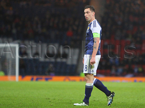 29.03.2016. Hampden Park, Glasgow, Scotland. International Football Friendly Scotland versus Denmark.  Scott Brown with a look of concern on his face