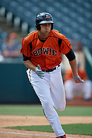 Bowie Baysox Ryan Ripken (22) runs to first base during an Eastern League game against the Binghamton Rumble Ponies on August 21, 2019 at Prince George's Stadium in Bowie, Maryland.  Bowie defeated Binghamton 7-6 in ten innings.  (Mike Janes/Four Seam Images)