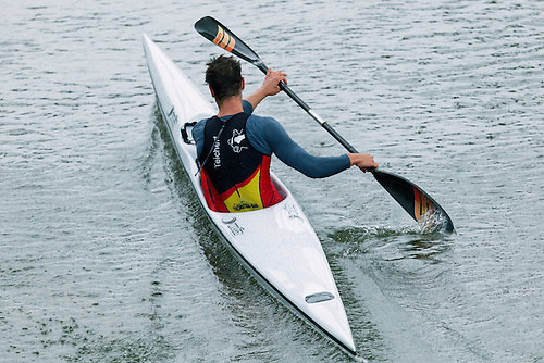 25 MAY 2014 - BRIGG, GBR - Stefan Teichert (GER) of Germany paddles his kayak along the River Ancholme near Brigg in Lincolnshire, Great Britain during the World Quadrathlon Federation 2014 Middle Distance World Championships (PHOTO COPYRIGHT © 2014 NIGEL FARROW, ALL RIGHTS RESERVED)