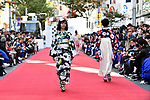 October 21, Tokyo, Japan - Shibuya Runway, a fashion show gets underway in the street of Tokyos fashionable Shibuya on the final day of Shibuya Fashion Week on Sunday, October 21, 2018. The 11-day campaign was held biannually to promote Shibuya and the unique culture of the upscale town with the help of up-and-coming young designers and staff members working in the areas shops. (Photo by Natsuki Sakai/AFLO) AYF -mis-