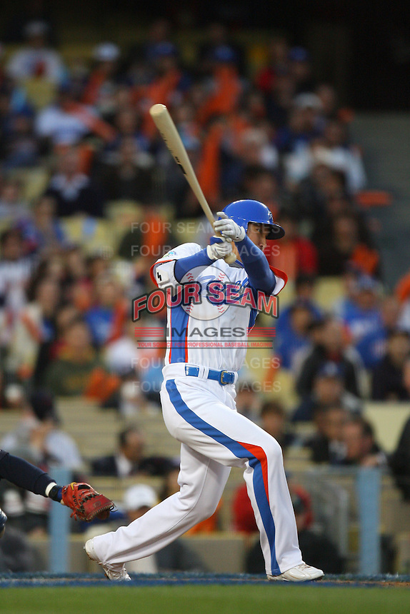 Jin Young Lee of Korea during a game against Japan at the World Baseball Classic at Dodger Stadium on March 23, 2009 in Los Angeles, California. (Larry Goren/Four Seam Images)