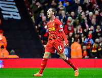 Sunday, 23 February 2014<br /> Pictured: Liverpool's Jordan Henderson celebrates scoring the second. 2-0<br /> Re: Barclay's Premier League, Liverpool FC v Swansea City FC v at Anfield Stadium, Liverpool Merseyside, UK.