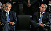 United States President Barack Obama, left, and the current Speaker of the U.S. House John Boehner (Republican of Ohio), right, attend a memorial service honoring former Speaker of the U.S. House Thomas S. Foley (Democrat of Washington) in the U.S. Capitol in Washington, D.C. on October 29, 2013.   Foley represented Washington's 5th Congressional District was the 57th Speaker of the US House of Representatives from 1989 to 1995. He later served as US Ambassador to Japan from 1997 to 2001. U.S. Representative John Lewis (Democrat of Georgia) is at the far left behind President Obama.<br /> Credit: Aude Guerrucci / Pool via CNP