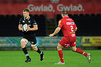 Ospreys' Olly Cracknell in action during todays match<br /> <br /> Photographer Ashley Crowden/CameraSport<br /> <br /> Guinness Pro14 Round 6 - Ospreys v Scarlets - Saturday 7th October 2017 - Liberty Stadium - Swansea<br /> <br /> World Copyright &copy; 2017 CameraSport. All rights reserved. 43 Linden Ave. Countesthorpe. Leicester. England. LE8 5PG - Tel: +44 (0) 116 277 4147 - admin@camerasport.com - www.camerasport.com