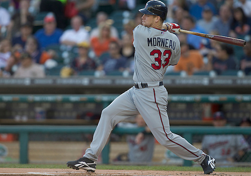 June 01, 2011:  Minnesota Twins first baseman Justin Morneau (#33) at bat in game action during MLB game between the Minnesota Twins and the Detroit Tigers at Comerica Park in Detroit, Michigan.  The Tigers defeated the Twins 4-2.