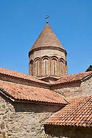 Pictures & images of the Georgian Orthodox church of the Virgin, early 17th century, Ananuri castle complex, Georgia (country).<br /> <br /> Ananuri castle is situated next to the Military Road overlooking the Aragvi River in Georgia, about 45 miles (72 kilometres) from Tbilisi. It was the castle of the eristavis (Dukes) of Aragvi from the 13th century and was the scene of numerous battles. In 2007 Ananuri castle was enscribed on the   UNESCO World Heritage Site tentative list.